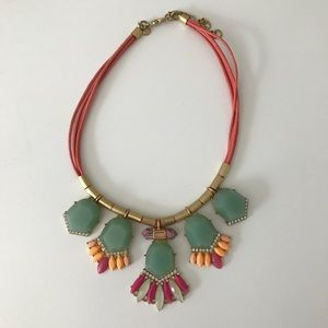 J Crew Statement Necklace mint green coral pink